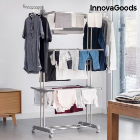 InnovaGoods Folding Clothes Airer with Wheels (18 Bars)
